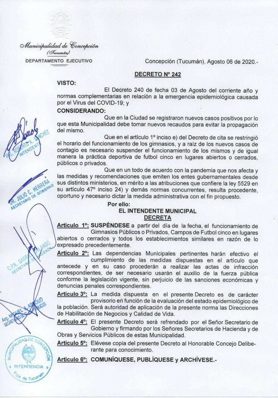 decreto concepción gimnasios fútbol 5